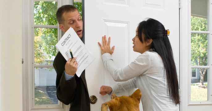 Beware of door to door alarm sales for Door to door salesman